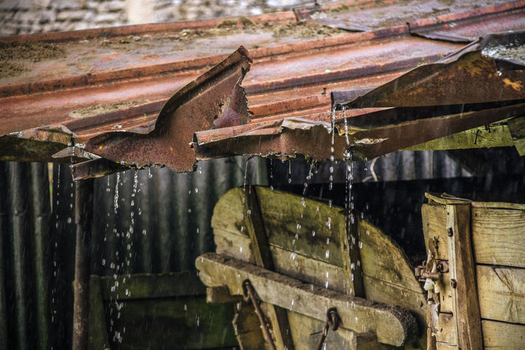 Abandoned Close-up Day Dripping Drop Metal Roof Nature No People Old Outdoors Pouring Rain Rain Rusty Water