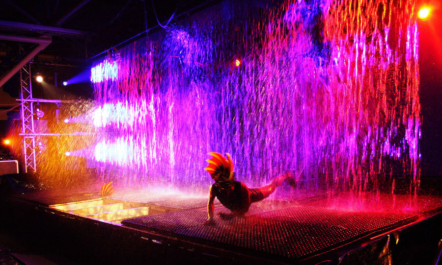 Art Artists Blue Event Exhibition Green Green Color Illuminated Motion Blur Overnight Success Performance Red Show Theatre Water Waterfall Waterfront Waterwall Performance Young Adult Young Woman