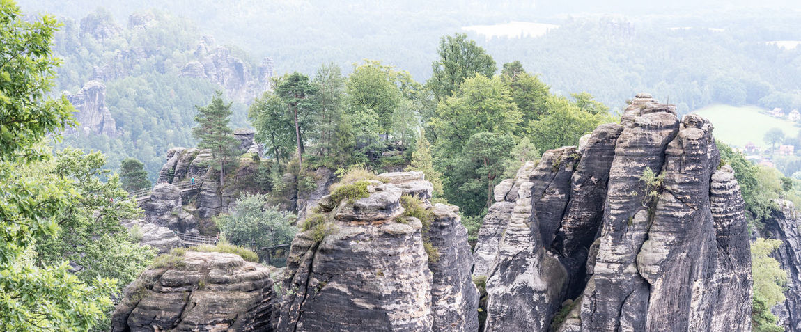 A must-see when being in the region - Die Bastei -the bastion- and the surrounding sandstone needles Bastei Day Haze No People Outdoors Panorama Rocks Trees
