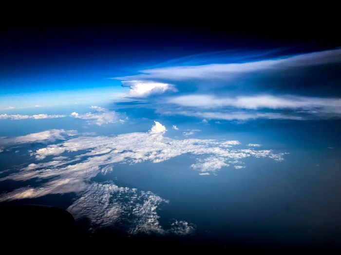 Blue Nature Beauty In Nature Scenics Aerial View Cloud - Sky Tranquil Scene No People Tranquility Outdoors Sky Day Sea Water Airplane Airplane Wing