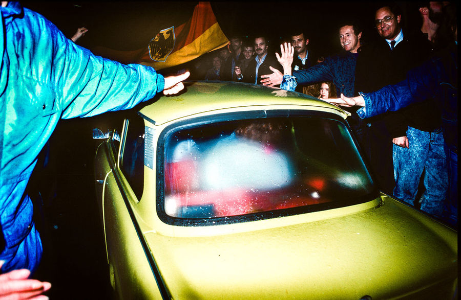 Sonnenallee, 23:17, 09 November 1989, east Germany opens the Borders to West Berlin 1989 Analogue Photography East German Trabant Grenzöffnung Happiness The Week On EyeEm Border East Germany German History Germany History Leica Opening Real People Remembering The Wall Unification Unthinkable West Germany DDR Grenze