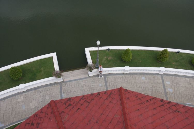High angle view of walkway by sea