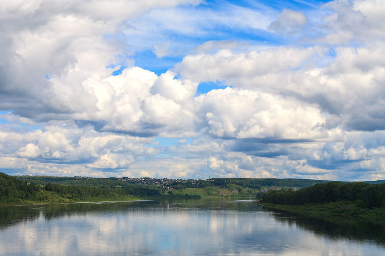 River Tom in Kemerovo city. River View Riverside Beauty In Nature Cloud - Sky Day Environment Landscape No People Non-urban Scene Outdoors Reflection River Riverbank Riverscape Scenics - Nature Siberia Sky Tranquil Scene Tranquility Water Waterfront