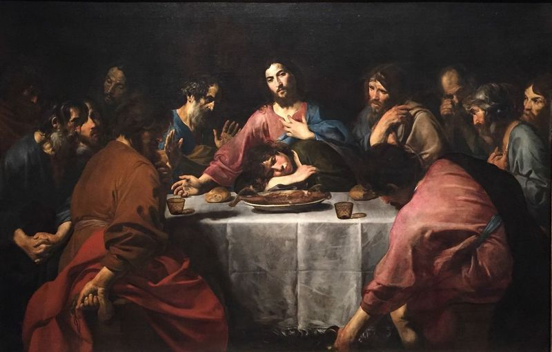 Painting. Caravaggio. 1652 Italian master The Last Supper photographer Bill Karam. The Metropolitan Museum exhibition. Oil on canvas Large Scale Painting Archival Women Ceremony Large Group Of People Indoors  Men Candle Full Length Ready-to-eat