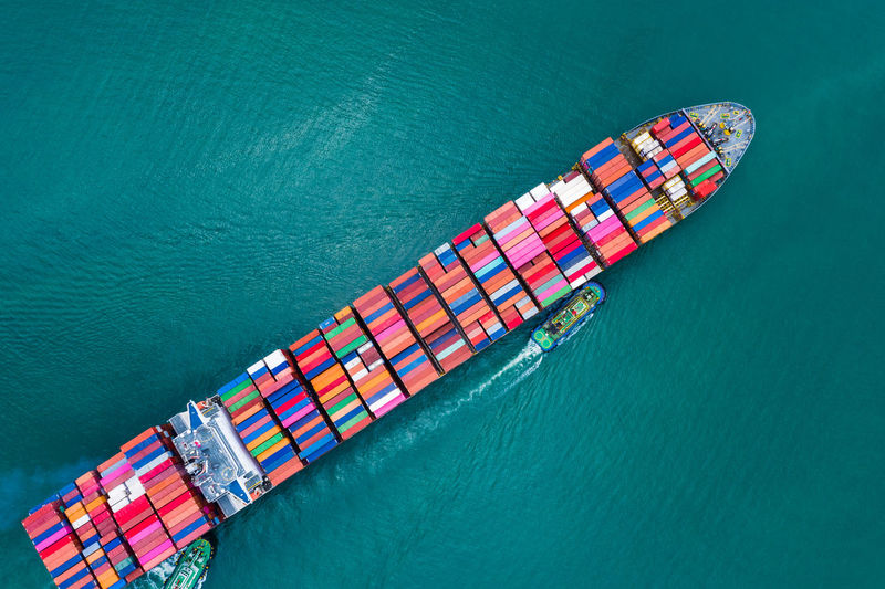Business and industry delivery services container shipping large import and export international