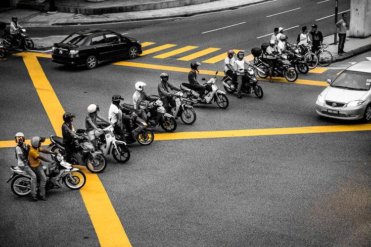 City Life Fun Motorbike Selected Color Traffic Traffic Jam Yellow