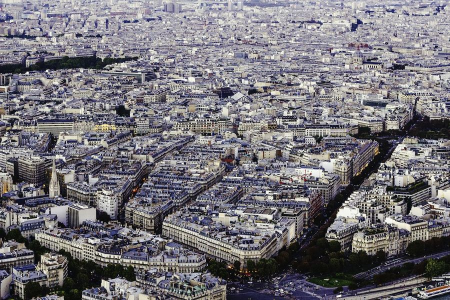 View From Eiffel Tower Paris Paris, France  France Cityscapes City View  Aerial Shot