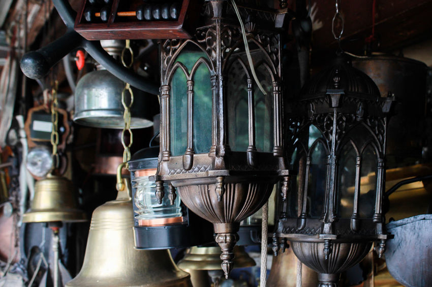 #Business #BusinessOnTheRoad #antique Shop #antiques #fleamarket #lamp #market #oldstuff Close-up Day Hanging Indoors  Large Group Of Objects Metal No People #historical