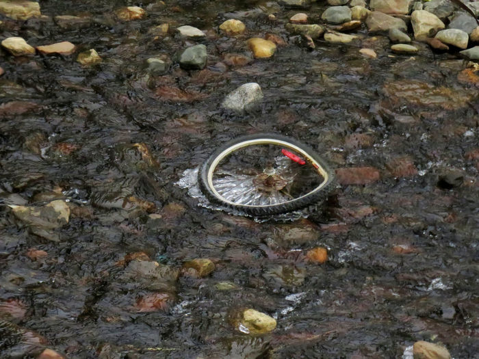 Broken bicycle wheel in a frozen creek with ice Northern Quebec Kuujjuaq Ring High Angle View No People Day Nature Jewelry Rock Circle Outdoors Geometric Shape Rock - Object Wedding Ring Solid Close-up Animal Themes Shape Water Diamond - Gemstone Sea Metal Wheel