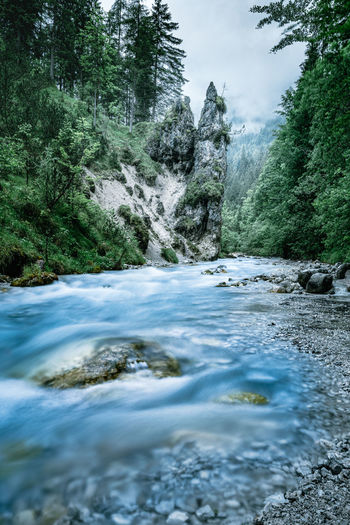River stream and iconic rock formation near ramsau/berchtesgaden, bavaria, germany