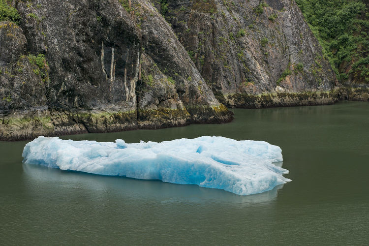 Water Tranquility Beauty In Nature Tranquil Scene Rock No People Day Nature Scenics - Nature Solid Outdoors Ice Turquoise Colored Iceberg Glacial Chunk Blue Floating On Water Melting Ice Alaskan Nature