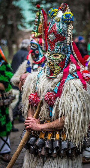 Close-Up Of Man In Traditional Costume During Carnival