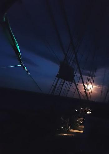 Moon Tall Ships Moonlight Night Outdoors Position Lamp Green Rail Rigging Sailing Sea Sky Tall Ship Details