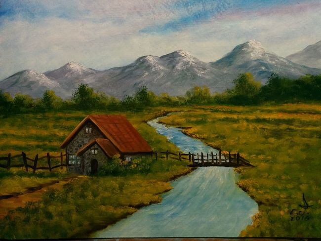 "Retirement home.oil on canvas 16""_22"", Mountain Landscape Beauty In Nature Brige Over River Nature Mountain Range Water Scenics Tranquility No People Art, Drawing, Creativity ArtWork My Art Colllection Oil Painting My Best Friends ❤ Fredom Drawing Fine Art Springtime Nature My Landscape Collection. Friendship. ♡   Love ♥ Koi. This is for you all who love nature,a also a very special thanks to my dearest friends in 3XSPUnity ,please my dear friend if you like to join us by all means you are most welcome to do so,thank you all."