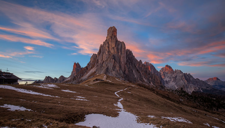 Beautiful sunset over Passo Giau Dolomites, Italy Passo Giau Quiet Travel Trekking Alps Beauty In Nature Cloud - Sky Clouds Cold Temperature Colorful Day Italy Landscape Nature No People Outdoors Scenics Sky Snow Sunset Tourism Tranquil Scene Tranquility Water