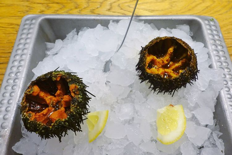 Food Seafood Madrid SPAIN Gourmet Delicious Market Shop Mercado Ocean Sea Urchin Sea Urchins Sea Urchin Shells Food And Drink Tasty Healthy Eating Ice Plate Freshness Ready-to-eat Snack Spiny Globular Echinoderms Test