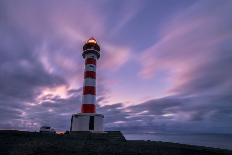 Lighthouse Cloud - Sky Longexposure Water Light And Shadow Sunset Night Light GranCanaria Gáldar Sky Tower Architecture Guidance Built Structure Building Exterior Protection Security Nature Safety Direction No People Dusk Sea Building Tall - High Outdoors Purple