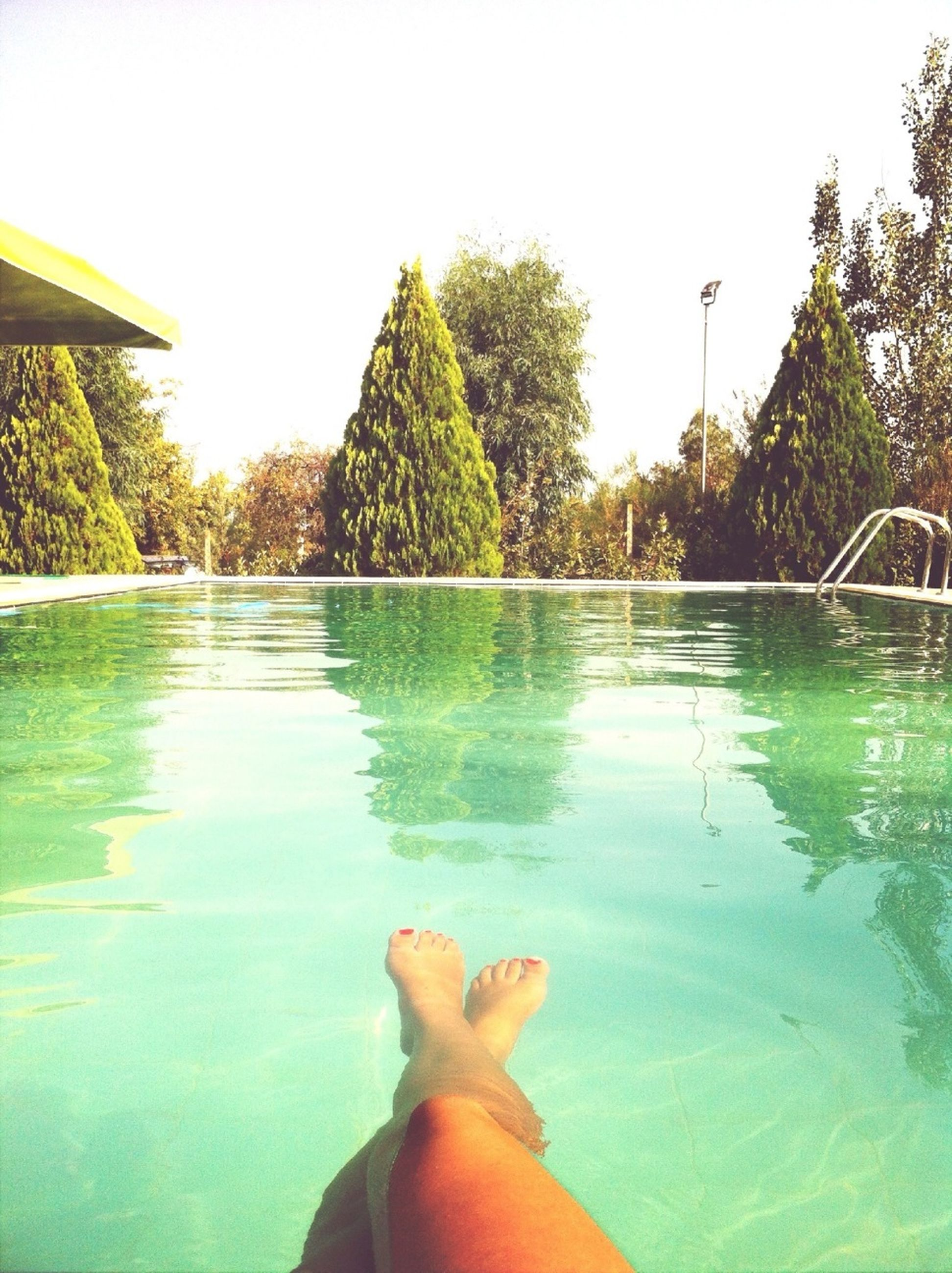 water, personal perspective, person, low section, tree, leisure activity, swimming pool, lifestyles, barefoot, clear sky, unrecognizable person, sunlight, human foot, part of, tranquility, relaxation, nature