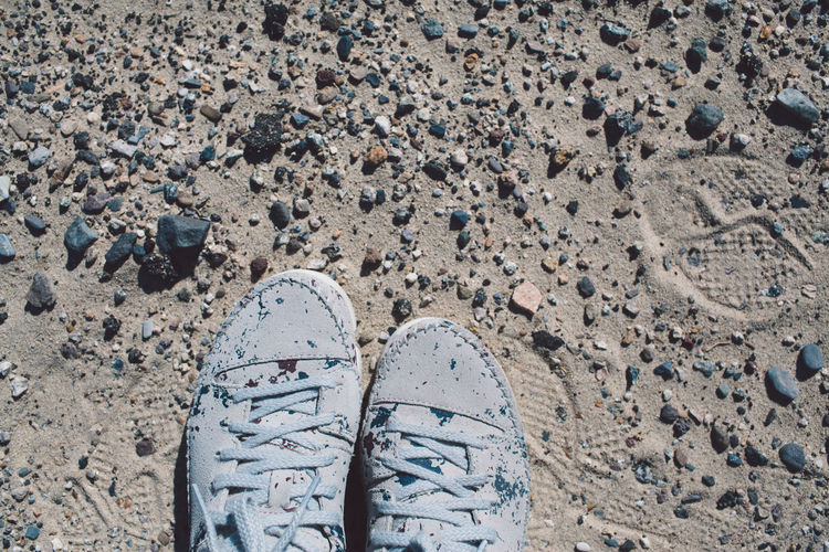 Arid Climate Arid Landscape Beach Canvas Shoe Day Death Valley Death Valley National Park Desert High Angle View Human Body Part Human Leg Landscape Lifestyles Low Section Men Mountains Nature One Person Outdoors Real People Road Roadtrip Sand Shoe Standing Out Of The Box