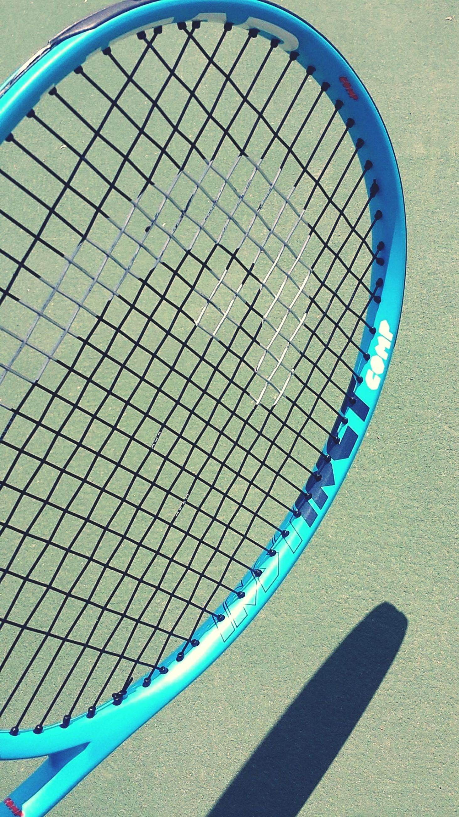 shadow, no people, sport, day, pattern, blue, sunlight, tennis, high angle view, nature, shape, sports equipment, outdoors, metal, absence, circle, tennis racket, curve, racket, swimming pool