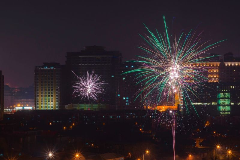 New Year Fireworks With Buildings In Background