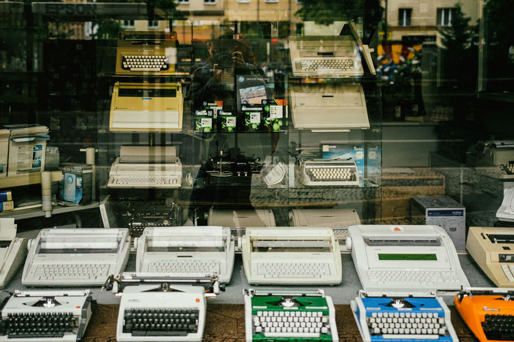 Typewriters for sale in store
