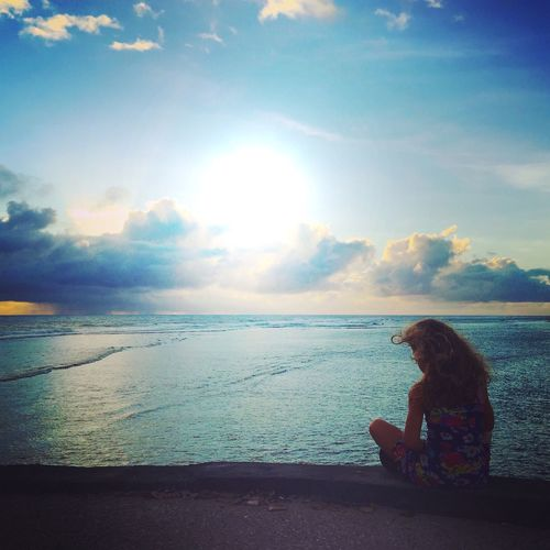 Ocean View Ocean Young Girl Indien LaReunion Blue Tranquility Tranquil Scene Sun