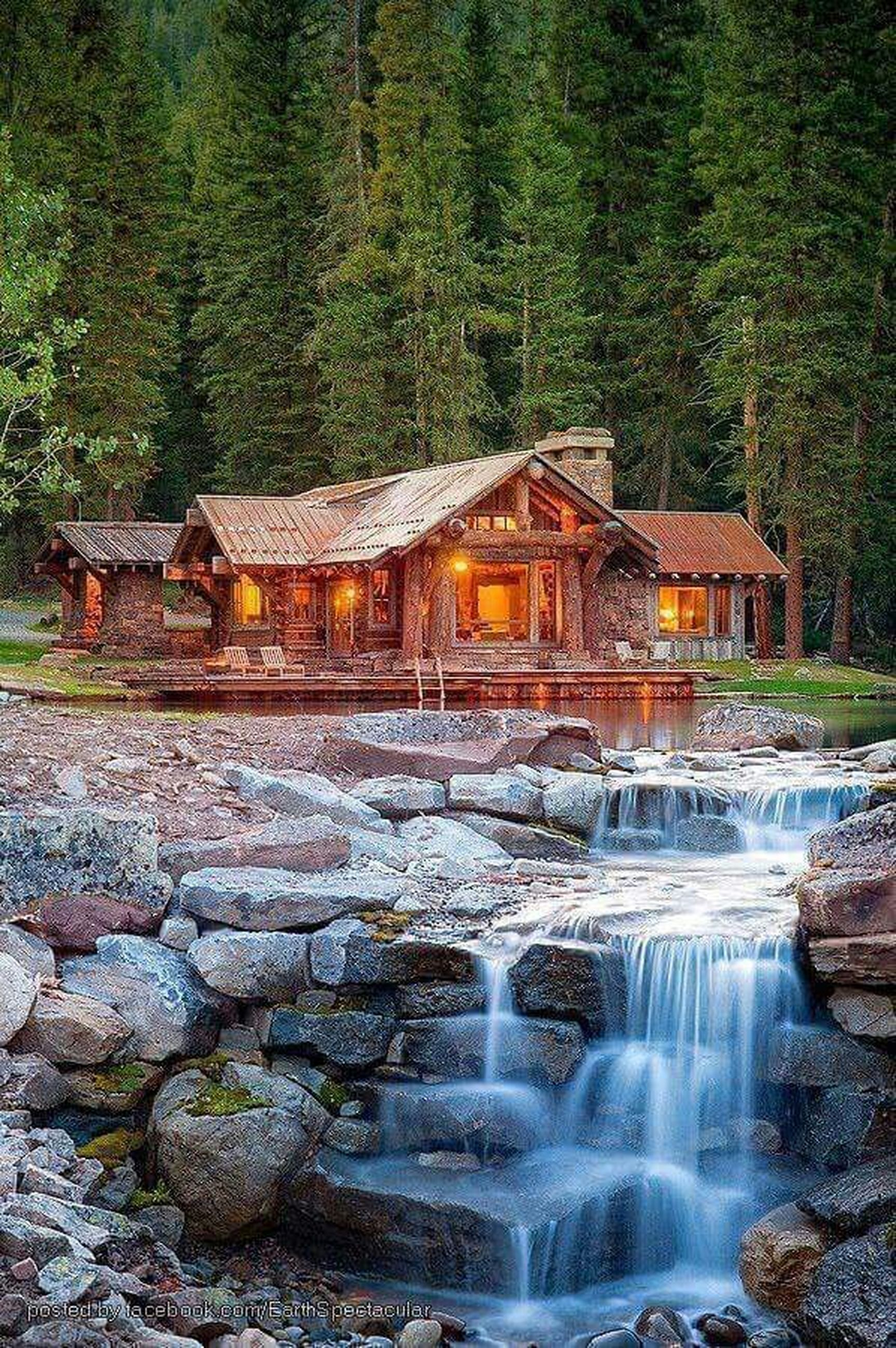 water, tree, built structure, architecture, flowing water, waterfall, building exterior, motion, flowing, long exposure, waterfront, nature, rock - object, forest, river, beauty in nature, day, outdoors, fountain, reflection