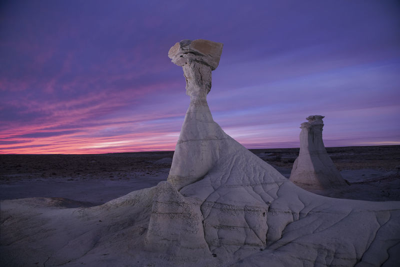 View of sculpture at sunset
