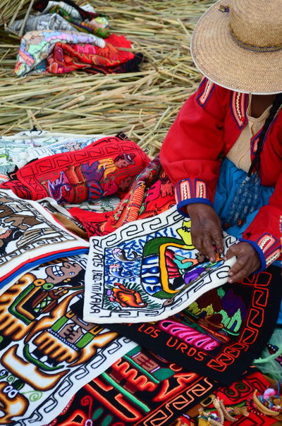 Uros Floating Islands Art And Craft Colorful Creativity Culture Floatingislands Handmade Multi Colored Peru Puno Sewing Titicaca Lake Uros Woman Woman Portrait