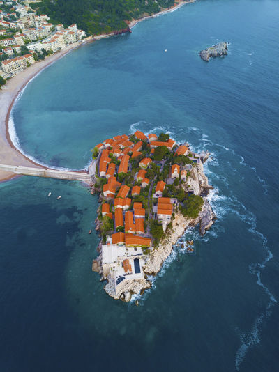 Water Nature No People Outdoors Aerial View Aerial Top View Top Down View Montenegro Kotor Sea Sveti Stefan High Angle View Building Exterior Architecture Built Structure Building Scenics - Nature Beauty In Nature Island SvetiStefan