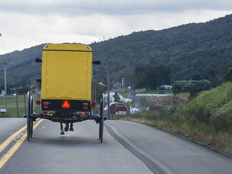 Yellow Amish Buggy in Big Valley, Pennsylvania. Pennsylvania Amish JGLowe Amish Country Amish Life Amish Buggy Amish Way Of Life Amish Transportation Mountain Road Sky Mode Of Transportation Land Vehicle Street Direction Nature Cloud - Sky The Way Forward Tree No People Sign Day City Built Structure Symbol Mountain Range Outdoors