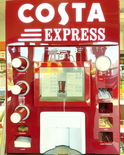 Close-up Coffee Coffee Express Coffee Machine Coffee Time Communication Costa Day Delicious Gas Station Hanging HDR Hdr_Collection IPhone IPhoneography Malbork No People Outdoors Poland Red Text Vending Machine