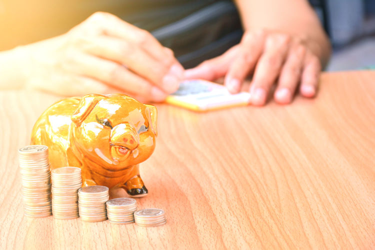 Close-Up Of Coins With Piggy Bank On Table While Person In Background