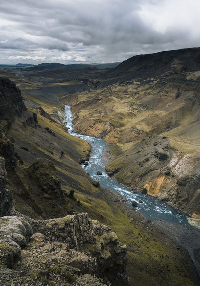 Canyons in iceland Iceland Landscape Landscape Photography Nature Nature Photography Moody Mother Nature Beauty In Nature Outdoors Sky Scenics - Nature Scandinavia Mountain Canyon River Green Water Views Scenery Rocks Rocks And Water Environment Cloud - Sky Remote Valley Land