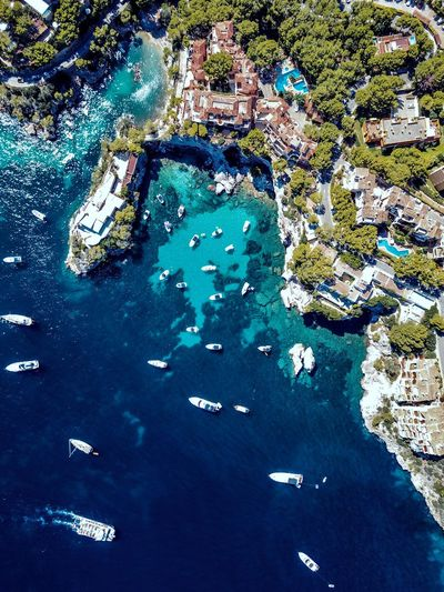 drone over a small beach area in Mallorca Drone  Mallorca Aerial View Beach Boat City Day Nautical Vessel No People Outdoors Sand Sea Village Water Yacht