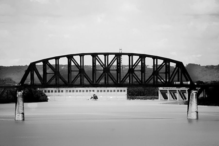 ReEdit Sky Architecture Built Structure Bridge - Man Made Structure Water Outdoors Day Connection Adapted To The City Railroad Bridge Louisville, Kentucky Nature Ohio River Bnw Black And White Outdoor Photography