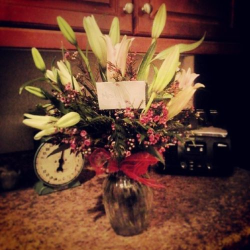 "I'm working in a crowded restaurant.. and a lady walks up to me and hands me this incredibly beautiful bouquet of flowers... I'm taken back... I looked at her like she is crazy and that she must have the wrong person.. inside there is a note addressed to me from some one extremely special. It was the most generous, random act of kindness I've ever been apart of. Thank you so much.... I will never ever forget how how magical that moment was. Imprinted on my soul forever.. Actsofkindness Thoughtful Amazing ""Thankyou"