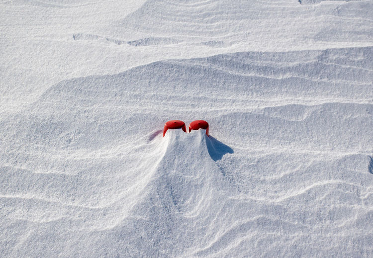 High angle view of object on snow
