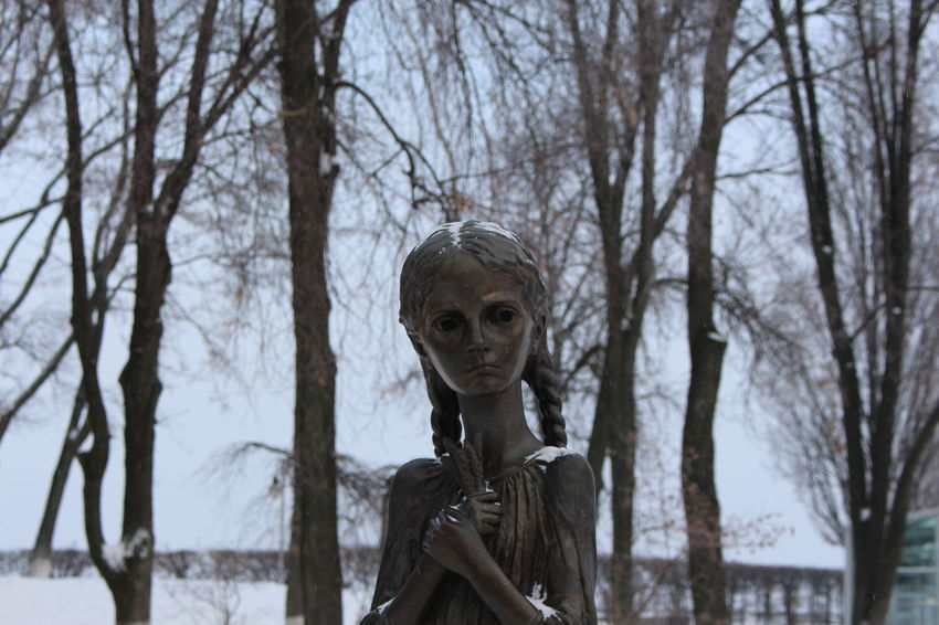 Bare Tree Day Female Likeness Focus On Foreground Holodomor Human Representation Kiev Low Angle View Monument Nature Neve No People Outdoors Sculpture Sky Snow Statue Tree Ukraine EyeEmNewHere