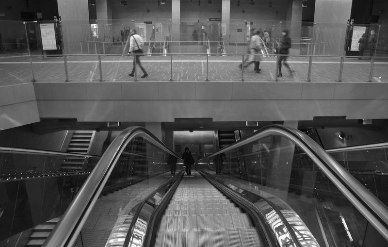 Central Station, Napoli Italia Real People Steps Escalator Railing Transportation