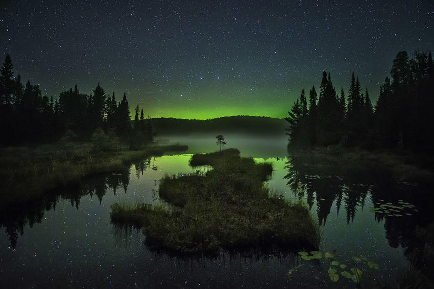 Minnesota Northern Lights Aurora Aurora Borealis Minnesota Minnesota Nature Minnesota Skies Northern Lights Astronomy Beauty In Nature Big Dipper Fog Foggy Galaxy Lake Nature Night No People Northern Minnesota Outdoors Reflection Sky Star - Space Stars Tranquil Scene Tree Water