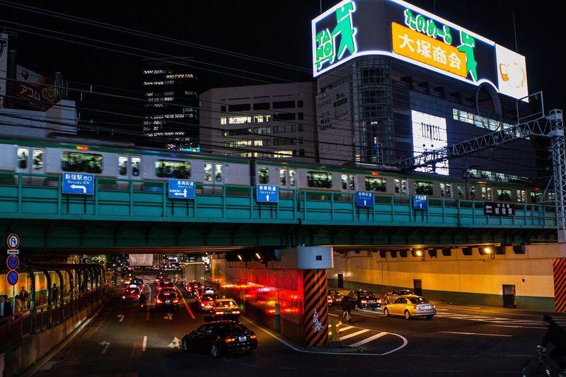 Multilevel city Tokyo Car City Night Transportation People Outdoors