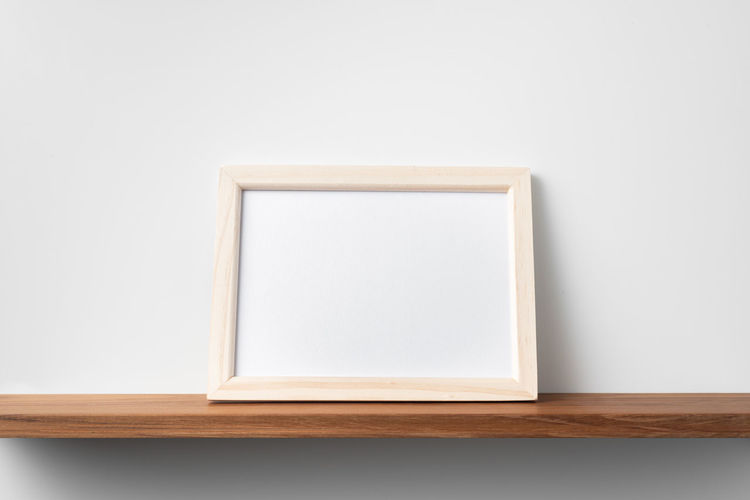 High angle view of table against white background