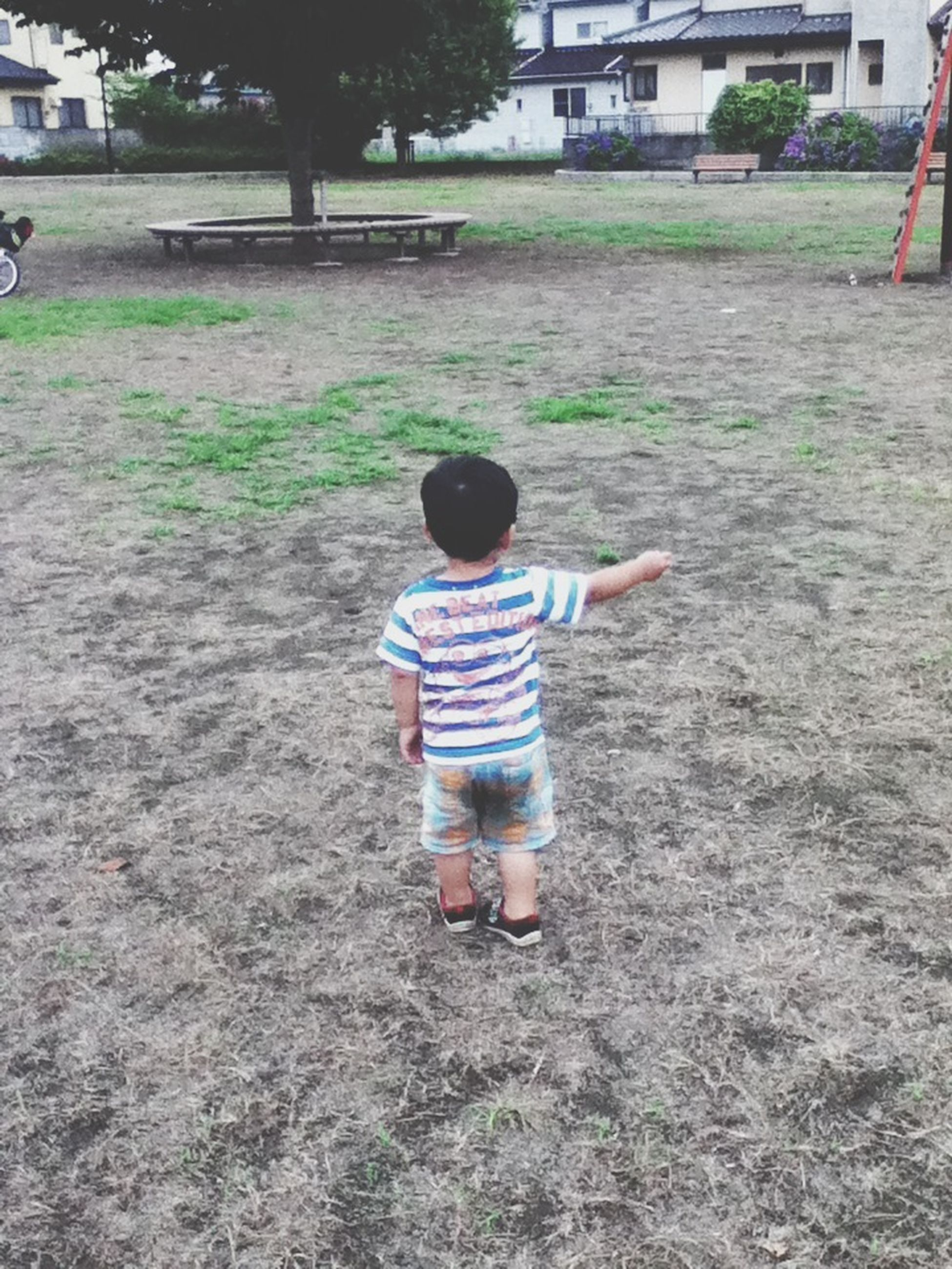 childhood, full length, elementary age, boys, girls, lifestyles, innocence, casual clothing, leisure activity, grass, person, cute, park - man made space, playful, rear view, playing, street, day
