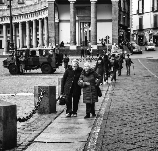 Naples Neapolis Napoli Napoliphotoproject Old Army People Street Streetphotography Blackandwhite Bnw Walking Delivery Time Friends Italy Italia Walking Real People Day Street
