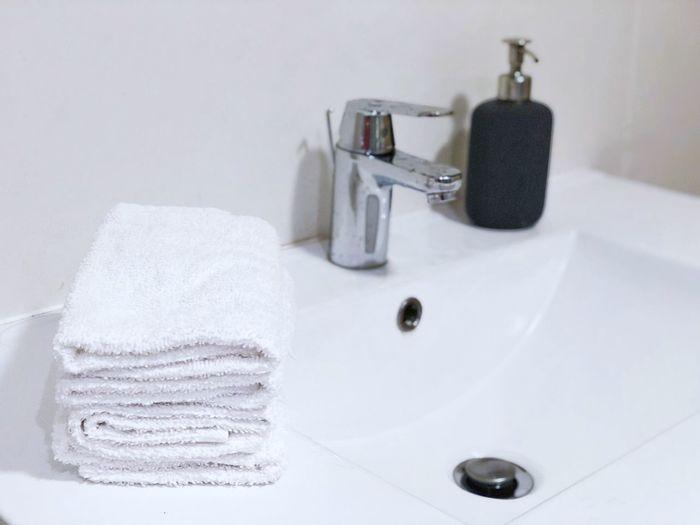 Soap Tap Clean Interior White Hotel Nobody Bathroom Domestic Bathroom Bathroom Hygiene Faucet Domestic Room Home Sink Indoors  Bathroom Sink White Color No People Towel Body Care Home Interior Toiletries Household Equipment