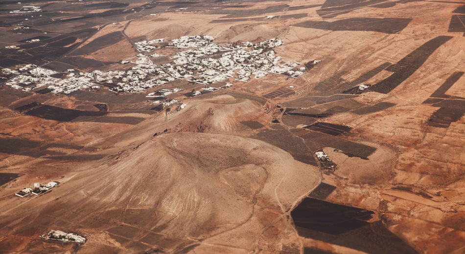 High angle view of arid landscape