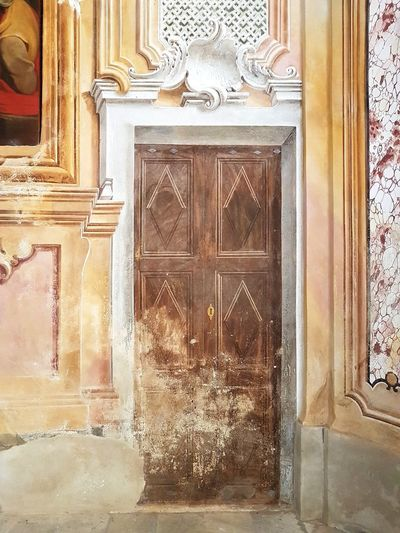 Architecture History Indoors  Built Structure Ancient No People Day Close-up Langhe Piedmont Italy Trompe-l'œil Church Interior Wall Painting Wall Decoration Old Architecture Fake Door