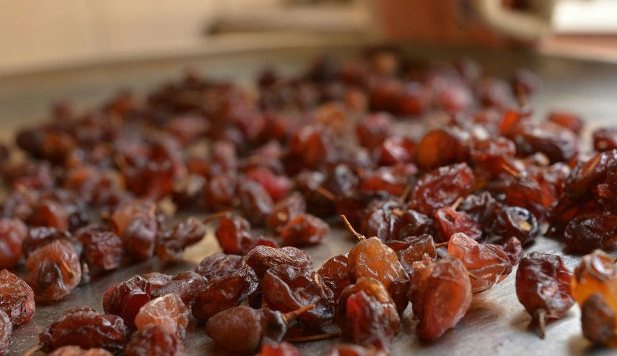 Raisins on table
